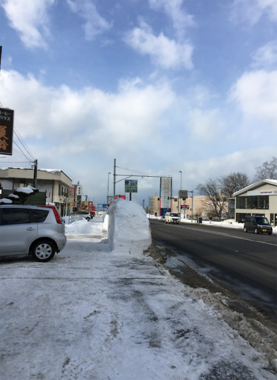 雪に埋もれた道路標識