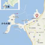 昭和の江差、かもめ島から見た風景と瓶子岩