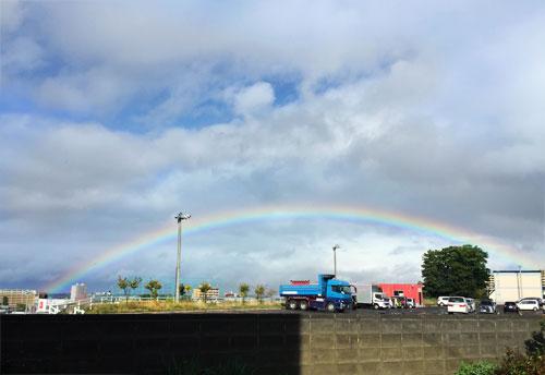 手稲は台風の目の中にスッポリ?きれいな虹が